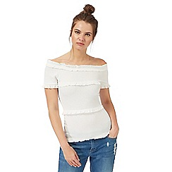 H! by Henry Holland - Ivory ruffled bardot top