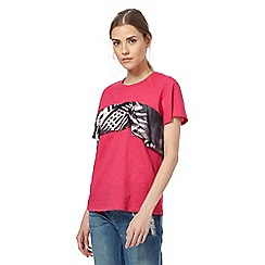 H! by Henry Holland - Pink palm print ruffled t-shirt