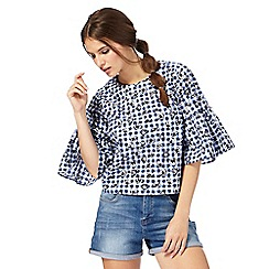 H! by Henry Holland - Navy gingham print top