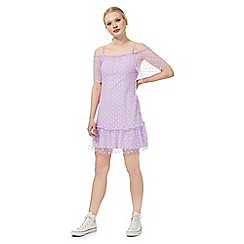 H! by Henry Holland - Purple spotted mesh Bardot dress
