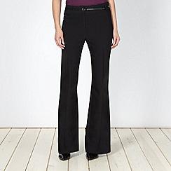 Principles Petite by Ben de Lisi - Petite designer black bootleg belted suit trousers