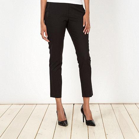 Principles Petite by Ben de Lisi - Petite designer black loop trim trousers
