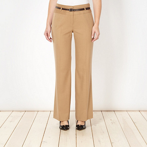 Principles by Ben de Lisi - Designer camel textured belted trousers