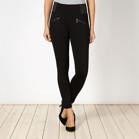 Principles Petite by Ben de Lisi - Petite designer black zip trim leggings