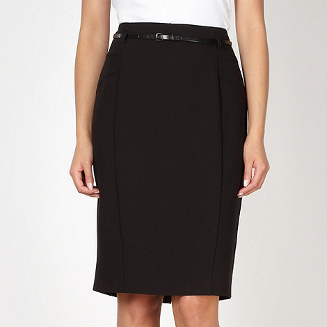 Principles by Ben de Lisi - Designer black belted suit skirt