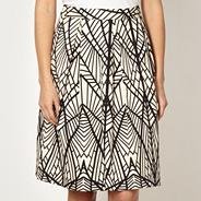 Designer black leaf patterned skirt
