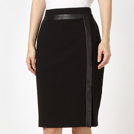Principles by Ben de Lisi - Designer black faux leather trim pencil skirt
