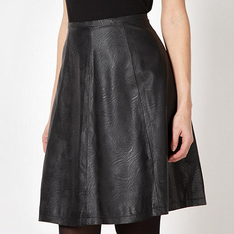 Principles by Ben de Lisi - Designer black faux leather skater skirt