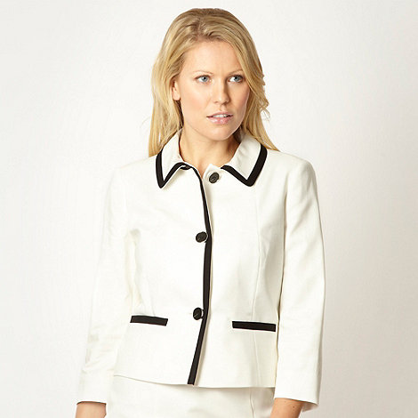 Principles Petite by Ben de Lisi - Petite designer cream colour block jacket