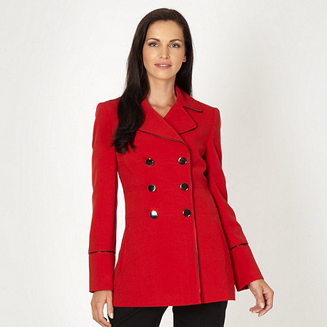 Principles Petite by Ben de Lisi - Petite red double breasted piped trim coat