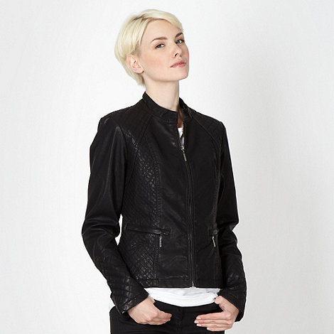Principles by Ben de Lisi - Designer black quilted biker jacket