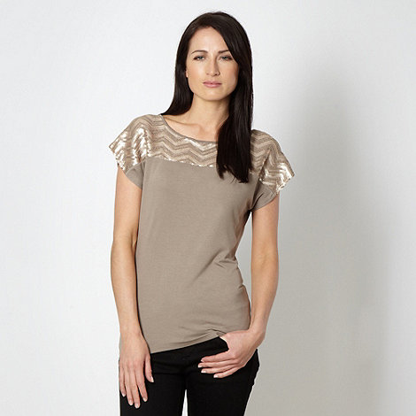 Principles by Ben de Lisi - Designer beige zig zag sequinned top