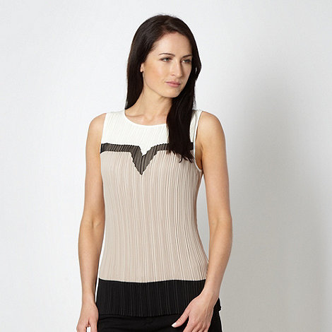 Principles by Ben de Lisi - Designer beige pleated mesh insert top