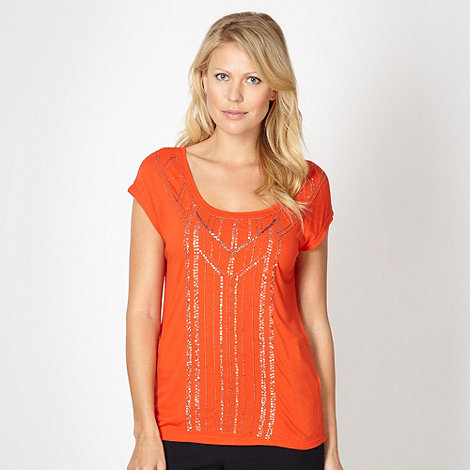 Principles by Ben de Lisi - Designer orange art deco beaded t-shirt