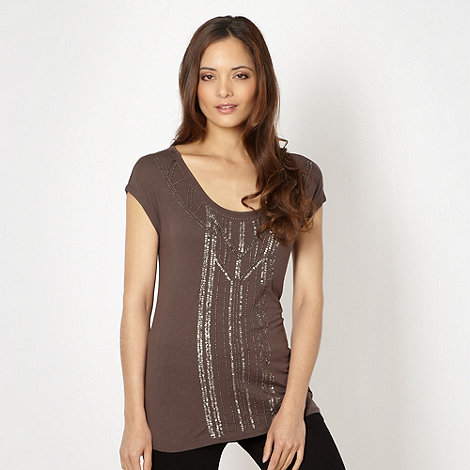 Principles by Ben de Lisi - Designer dark brown bead embellished t-shirt