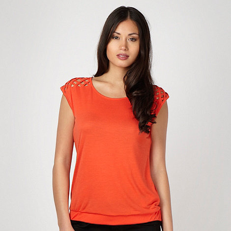 Principles by Ben de Lisi - Designer dark orange lattice shoulder top