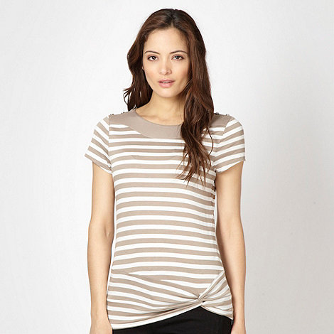 Principles by Ben de Lisi - Designer natural striped twisted hem top