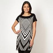 Petite designer black geometric printed jersey tunic top