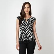 Petite designer black chevron twist front top