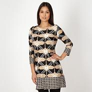 Petite black diamond print tunic