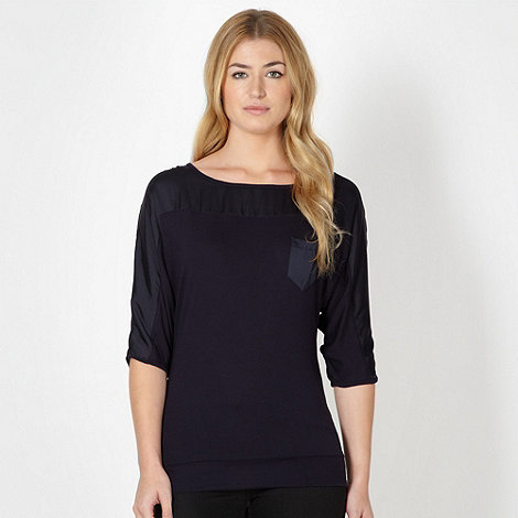 Principles by Ben de Lisi - Designer navy satin and jersey top
