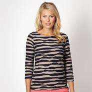 Petite designer navy wavy striped top
