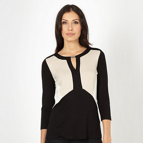 Principles by Ben de Lisi - Designer black colour block jersey top