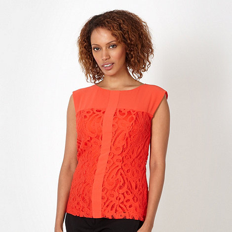 Principles by Ben de Lisi - Designer orange lace panelled shell top