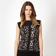 Petite designer black lace tape top