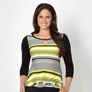 Designer lime striped knot front top