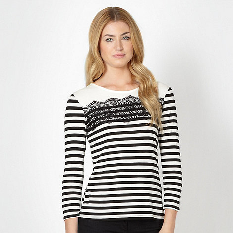 Principles by Ben de Lisi - Designer black striped three quarter sleeve top
