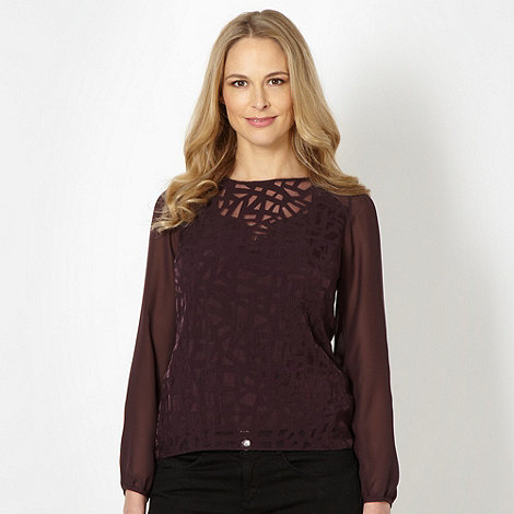 Principles by Ben de Lisi - Designer dark purple lattice burnout top