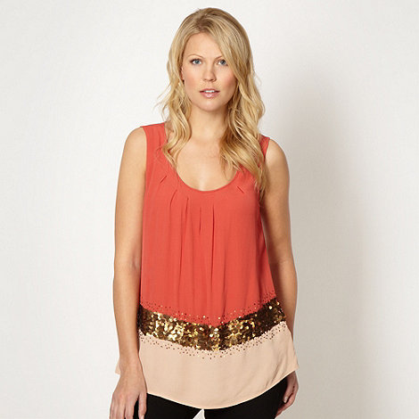 Principles Petite by Ben de Lisi - Petite designer coral colour block sequin shell top