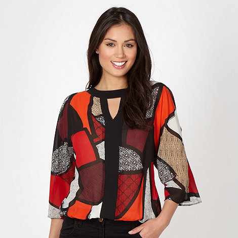 Principles Petite by Ben de Lisi - Petite red mixed tribal print blouse