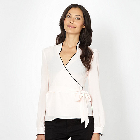 Principles by Ben de Lisi - Designer pale pink tipped wrap shirt