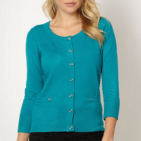 Principles by Ben de Lisi - Designer dark turquoise striped panel cardigan