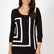 Designer black monochrome striped cardigan