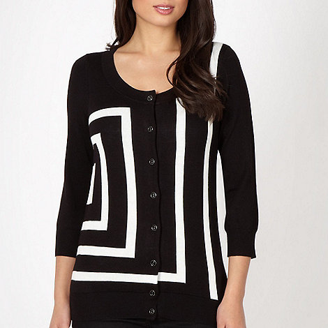 Principles by Ben de Lisi - Designer black monochrome striped cardigan