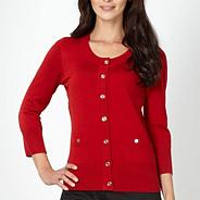 Petite red stitched shoulder cardigan