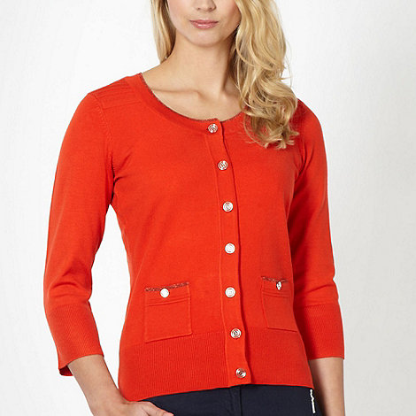 Principles by Ben de Lisi - Designer dark orange stitched shoulder cardigan