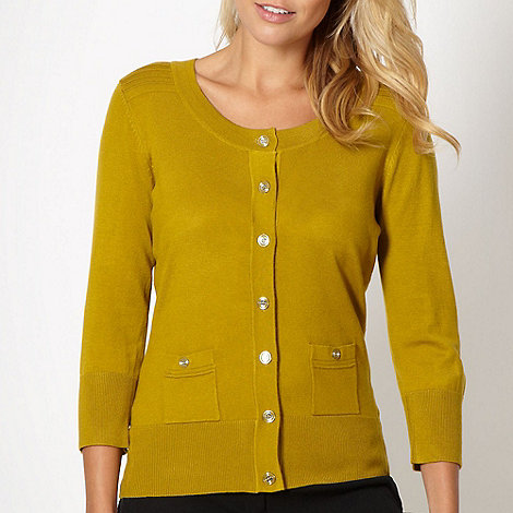 Principles by Ben de Lisi - Designer olive stitched shoulder cardigan