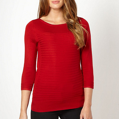 Principles by Ben de Lisi - Designer red ribbed boat neck jumper