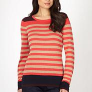 Petite designer peach striped jumper