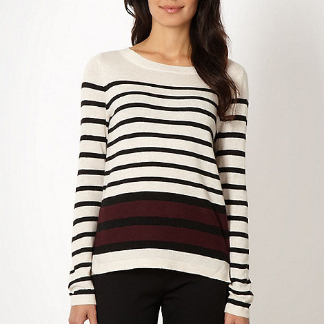Principles by Ben de Lisi - Designer wine contrast striped jumper
