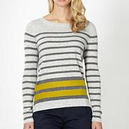 Designer grey striped jumper