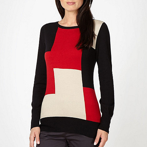 Principles by Ben de Lisi - Designer red intarsia block knit jumper