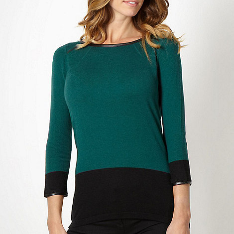 Principles by Ben de Lisi - Designer dark green PU trim jumper