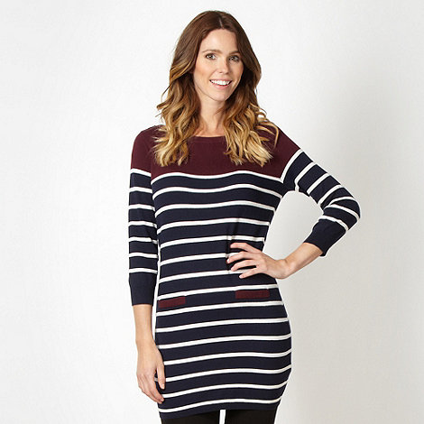 Principles by Ben de Lisi - Designer navy striped colour block knit tunic