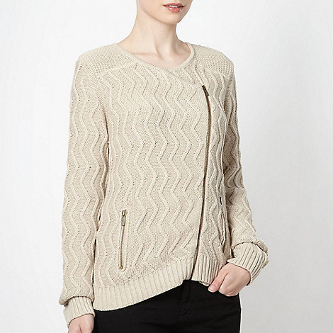 Principles by Ben de Lisi - Designer natural zip knitted cardigan