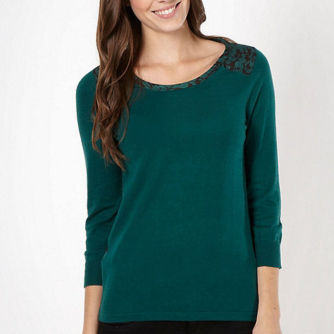 Principles by Ben de Lisi - Designer dark green woven back jumper